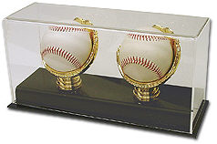 Double Baseball Gold Glove Display