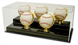 Five Baseball Gold Glove Display