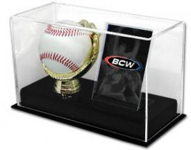 Deluxe Acrylic Gold Glove Baseball and Card Display