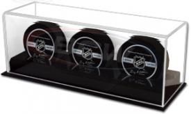 Deluxe Acrylic Three Hockey Puck Display